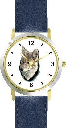 Gray Fox Dog - WATCHBUDDY® DELUXE TWO-TONE THEME WATCH - Arabic Numbers - Blue Leather Strap-Children's Size-Small ( Boy's Size & Girl's Size ) WatchBuddy. $49.95. Save 38% Off!