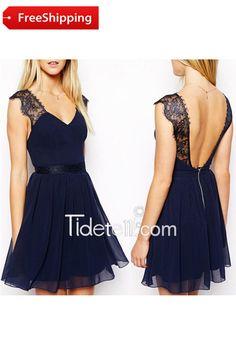 Elegant A-line V-neck Backless Short Chiffon Bridesmaid Dress with Lace