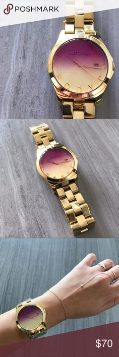 """MBMJ Henry Watch Gold with an ombré face, this Marc by Marc Jacobs watch is a work of art! Pre-loved in good condition; the battery needs to be replace and I no longer have the extra links. The circumference measures approximately 8"""" around. Marc By Marc Jacobs Accessories Watches"""