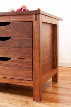 beautiful walnut island, inset doors (without face frame dividers, routed drawer pulls. great island end