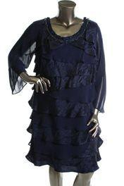 Beautiful BLUE floaty beaded neckline dress (20)