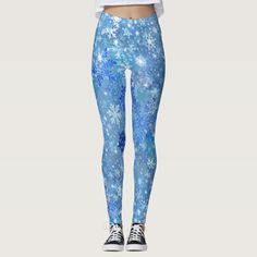Snowflakes All-Over Print Leggings - tap/click to personalize and buy #christmas #holiday #seasonal #winter #snow Print Leggings, Women's Leggings, Leggings Fashion, Look Cool, Dressmaking, Things That Bounce, Snowflakes, Cool Designs, Light Blue