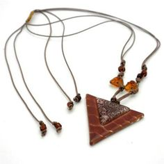 White Waves on Caramel Fused Glass Inverted Triangle Necklace - Tili Glass