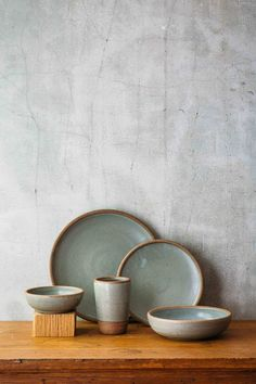 East Fork Pottery: Dinner Set 5 Piece   Includes:  Tumbler  Side Plate  Dinner Plate  Shallow Breakfast Bowl  Shallow Soup or Salad Bowl  Stamped: East Fork  Dishwasher, microwave and oven safe.