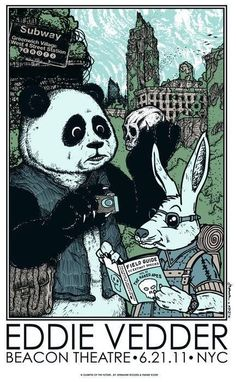 rock poster by Frank Kozik  Eddie Vedder Rabbit & Panda