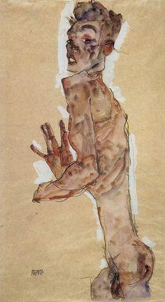 Egon Schiele Painting - Self Portrait With Splayed Fingers 1911 by Egon Schiele Gustav Klimt, Life Drawing, Figure Drawing, Painting & Drawing, Jenny Saville, Google Art Project, Royal Academy Of Arts, Gouache, Art Google