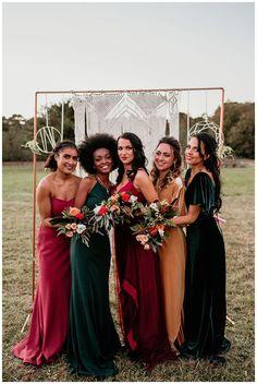 Jewel Tone Bridesmaid, Mismatched Bridesmaid Dresses, Bridesmaid Dress Colors, Bridesmaids And Groomsmen, Wedding Bridesmaid Dresses, Wedding Attire, Boho Wedding, Fall Wedding Bridesmaids, Different Colour Bridesmaid Dresses