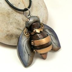 Bee Jewelry Steampunk Style Pendant Industrial by DesertRubble