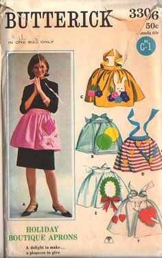 Butterick 3306 Holiday Boutique Aprons: gift & balloon appliques for birthdays, wreath applique for Christmas, rabbit applique for Easter, heart & arrow applique for Valentine's Day, firecracker applique for Fourth of July Vintage Apron Pattern, Vintage Sewing Patterns, Sewing Aprons, Sewing Diy, Patron Vintage, Holiday Boutique, Iron On Fabric, Dress Patterns, Apron Patterns