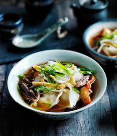 Kimchi mandu in broth :: Gourmet Traveller Magazine Mobile. A veg broth but ths sounds like a wonderful dish. Asian Recipes, Gourmet Recipes, Soup Recipes, Ethnic Recipes, Paleo Recipes, Cooking Recipes, Dumpling Recipe, Mandu Recipe, Dumpling Soup
