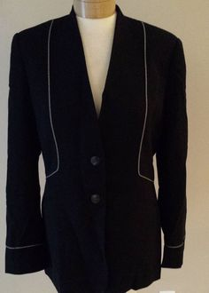 Mary Kay Black Blazer 100% Wool Jacket White Trim Womens Sz 8T #MaryKay #Blazer