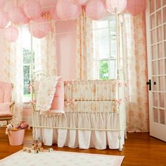 I bought this crib bedding and these drapes for my shabby chic nursery.  It's just too sweet.