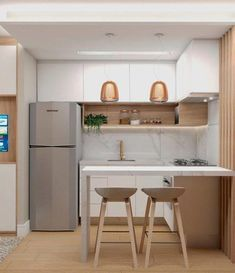 55 Creative Modern Small Apartment Design Ideas You Definitely Like Small Kitchen Ideas Apartment Creative Design Ideas Modern small Kitchen Room Design, Modern Kitchen Design, Home Decor Kitchen, Interior Design Kitchen, Kitchen Furniture, Home Kitchens, Kitchen Layout, Very Small Kitchen Design, One Wall Kitchen