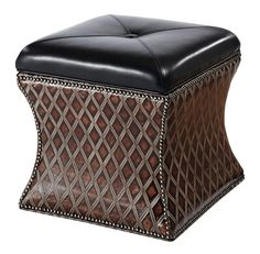 Diamond Leather Storage Ottoman Western Ottomans   Uniquely Shaped Ottoman  With Dark Chocolate Leather Lid That