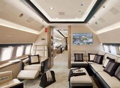 PRIVATE JETS (AP). Private Jet Interior! Perfect to discuss business or relax while flying to Paris...