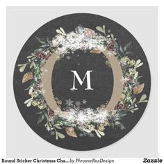Shop Round Sticker Christmas Chalk Holiday Floral created by PhrosneRasDesign. Christmas Gift Tags, Holiday Gifts, Christmas Holidays, Holiday Photo Cards, Holiday Photos, Holiday Festival, Round Stickers, Custom Stickers, Customized Gifts