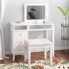 Willa Arlo Interiors Kemmerer Vanity Set with Mirror Corner Makeup Vanity, Makeup Table Vanity, Diy Vanity, Wood Vanity, Makeup Tables, Vanity Ideas, Makeup Vanities, Vanity Table Set, Vanity Set With Mirror