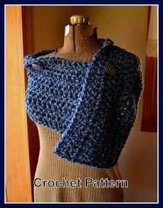 Crochet Pattern Chunky Crochet Button Wrap Shawl Pattern PDF Digital Crochet Pattern
