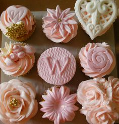 Pink and White wedding cupcakes