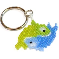 I am a hand beaded charm of the astrological sign Pisces, the fishes, made for those born February 20 to March 20. I am attached to a