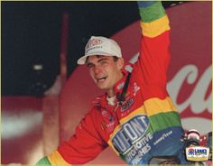 young and emotional Jeff Gordon is pictured after his first NASCAR win!