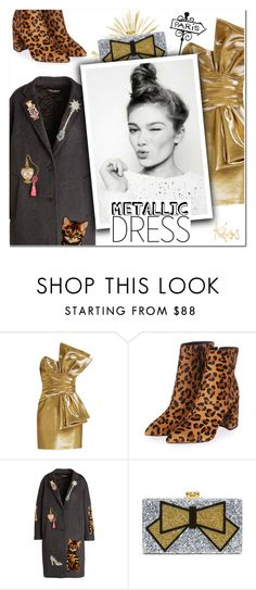 """""""Heavy Metal: Metallic Dresses"""" by vampirella24 ❤ liked on Polyvore featuring Yves Saint Laurent, Topshop, Dolce&Gabbana, Edie Parker and Lanvin"""