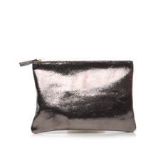 The large flat clutch is a  clean, simple Italian leather pouch with a top zip closure, gold Clare Vivier toggle and and single compartment.
