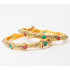 """Indian Bollywood Gold Plated Size 2"""" Bangle Set with Curved Edge Valentines Gift Jewelry"""