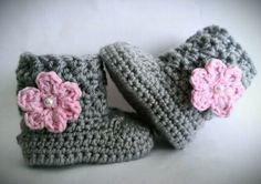 Crochet Baby Girl Boots Pink and Gray Baby by CutestlittleThing, $21.00