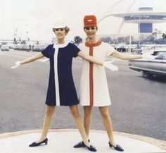 Navy dress with a white stripe. Awesome 60s flight attendant uniform