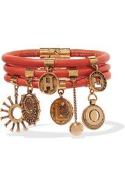Leather and gold-tone charm bracelet