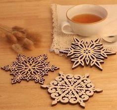 Snowflake Cup Glass Mug Mat Wood Tea Drink Kitchen Barware Coaster 0412360152 in Home & Garden, Kitchen, Dining & Bar, Bar Tools & Accessories | eBay