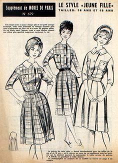 Robe toute simple, jupe à larges plis, petit corsage boutonné avec ou sans col, manches trois-quart, poches plaquées à la poitrine, ceinture.  Taille 16 ans ou 38, correspond - 7591176