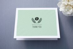Feathered Monogram Thank You Cards by Olivia Raufman at minted.com