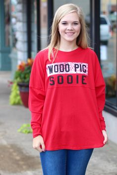 Woo Pig Sooie Jersey {Red} - The Fair Lady Boutique - 1