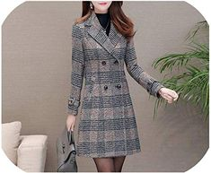 New Warm Woolen Blends Female Elegant Double Breasted Woolen Coat Women Plaid Long Outerwear online shopping - Looknewclothing Split Pants, Womens Dress Suits, Blazer Outfits, Parka Coat, Business Dresses, Dress Collection, Coats For Women, Double Breasted, Girl Stuff