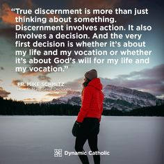 These simple yet powerful messages will help you live each day with passion and purpose. Prayer For Vocations, Prayer For Discernment, Father Mike Schmitz, Catholic Daily Reflections, Dynamic Catholic, Motivational Quotes, Inspirational Quotes, True Faith, Catholic Quotes