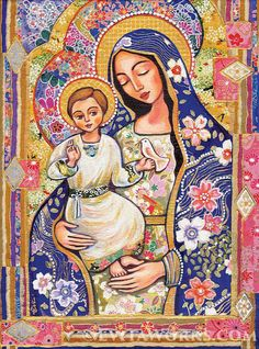 Mary and Jesus Folk Art Icon Religious Painting by EvitaWorks