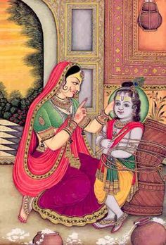 Yashodha Tying Krishna to the Mortar  Once, wishing to feed Krishna with ...