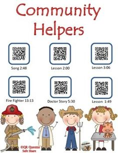 COMMUNITY HELPERS USING QR CODES - Community Helpers using QR Codes Pre k - 2nd $ So fun for integrating technology! Community Helpers Kindergarten, Kindergarten Art Activities, Kindergarten Social Studies, Social Studies Classroom, Kindergarten Activities, Learning Activities, Community Workers, Common Core Reading, Gillingham