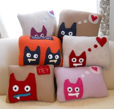 pillow with sweet monster. via Etsy.