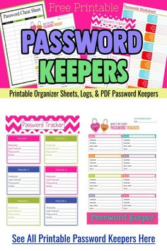 Password Keepers - free printable password organizer pdf logs and password sheets - password tracker username and password template pdf for a password cheat sheet printable file to keep your internet passwords organized Free Password, Password Keeper, Binder Organization, Organizing Ideas, Password Tracker, Tacker, Simple Words, Book Journal, Getting Organized