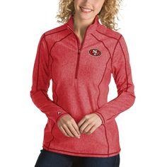 San Francisco 49ers Antigua Women's Tempo Desert Dry Quarter-Zip Jacket - Heather Red