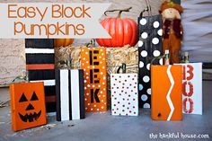 How cute are these Halloween Block Pumpkins? Love them!