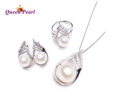 Cheap necklace and earrings, Buy Quality pearl jewelry set directly from China jewelry sets Suppliers: ZJPEARL genuine freshwater pearl jewelry set, pearl necklace and earrings for women white top quality Bridesmaid Accessories, Bridesmaid Jewelry Sets, Bridal Jewelry Sets, Jewelry Accessories, Bridal Jewellery, Prom Jewelry, Pearl Jewelry, Silver Jewelry, 925 Silver