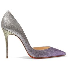 Christian Louboutin Iriza 100 dégradé glittered leather pumps (€570) ❤ liked on Polyvore featuring shoes, pumps, christian louboutin, heels, purple, glitter pumps, high heel shoes, purple shoes, christian louboutin pumps and leather slip on shoes