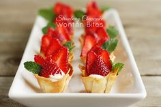 For your mini dessert platter: strawberry cheesecake wonton bites