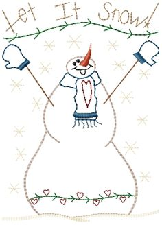 Let It Snow Snowman Sampler 5x7 : HeartStrings Embroidery, Embroidery Designs