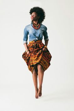 African print and jean shirt