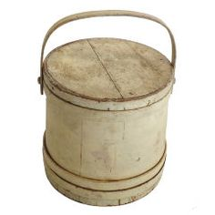 19th Original White Painted Firkin from New England